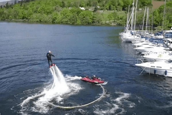Flyboard Fun Low Wood Watersports Centre Ambleside filmed by drone from the air, lake, district, ambleside, windermere,