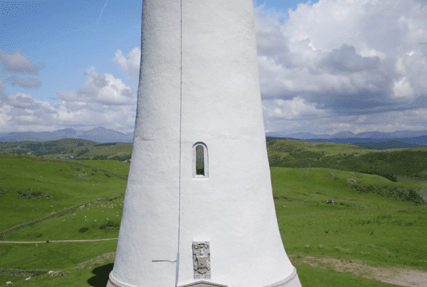 Sir John Barrow Hoad lighthouse Ulverston Cumbria. Filmed from the air by drone.