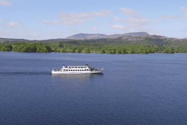 Windermere Lake Cruises MV Swan filmed by drone from the air
