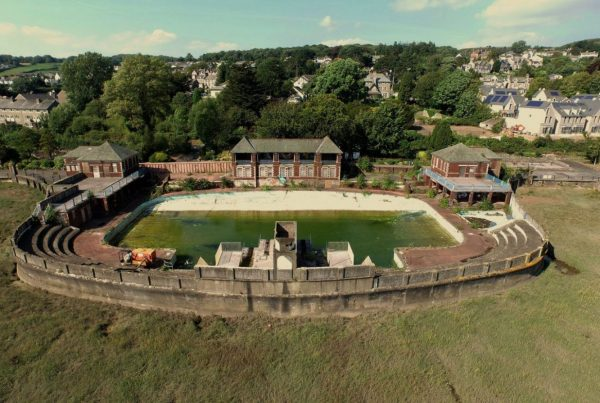 Grange over Sands Baths Lido, aerial photograph, taken from the air by drone Cumbria swimming pool, Lake, District, image,