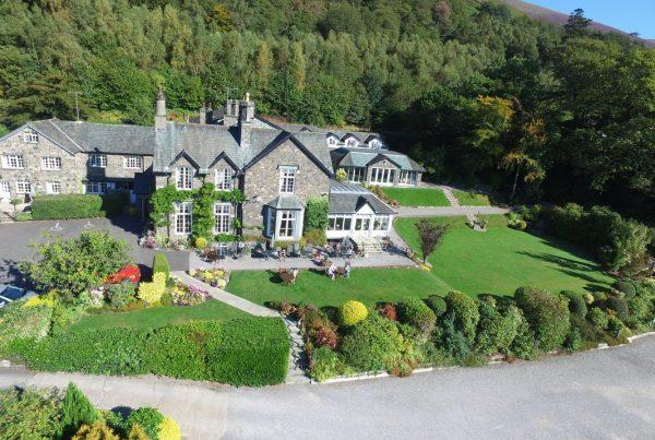 Aeria,l Drone, Photograph, image, photo, Lyzzic, Hall, Hotel ,Keswick, lake, district, cumbria, uav, skidaw, underscar, Basenthwaite,
