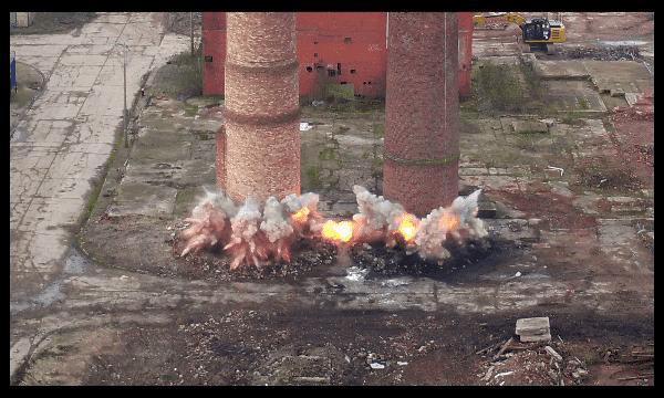 castleford explosive explosion aerial drone film filming video by drone hovershotz bradley demolition west yorkshire image pho photograph uav