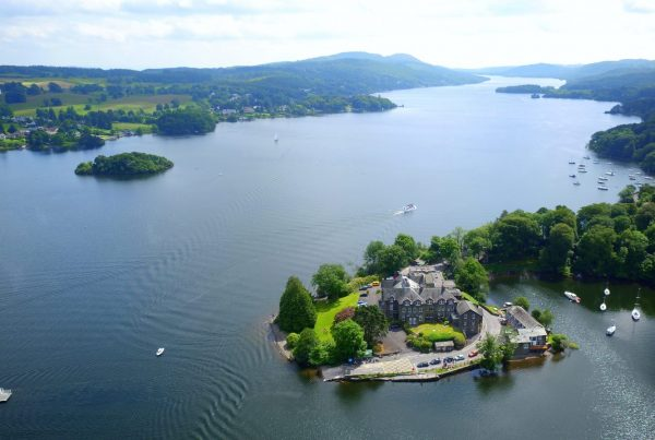 Aerial Drone Photograph of The Ferry House Apartments Far Sawrey Windermere by Hovershotz Lake District Cumbria
