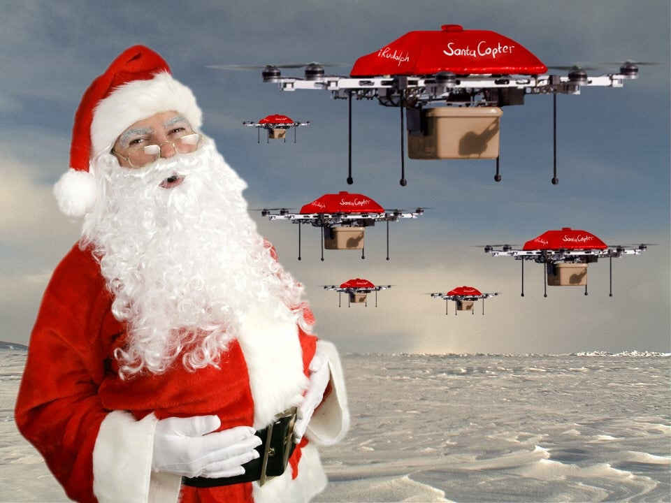 Hovershotz aerial drone photography Cumbria help Father Christmas use drones to help deliver presents to children. Santa Drone. Lake District