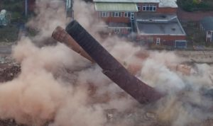 Chimney demolition photograph by drone Yorkshire
